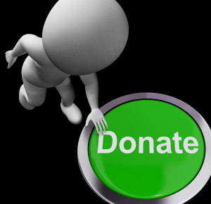 Donate Button Showing Charity Donation And Fundraising