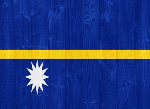 gorgeous Nauru flag painted on a wood plank texture